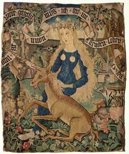 """Courtesy of Wikimedia: Description: """"Wildweibchen mit Einhorn"""", """"Wild woman in blue titty dress with unicorn"""", Kissenplatte, Strassburg, 76cm × 63cm,"""