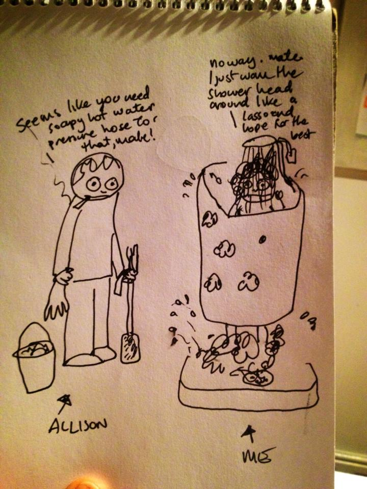 The Shower Scene Cartoon reproduced with permission of the artist, Toni Le Busque.