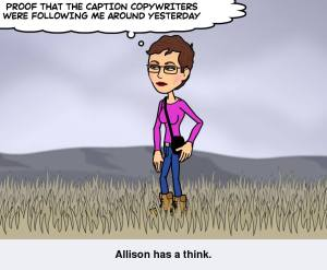 Bitstrip Allison having a thought