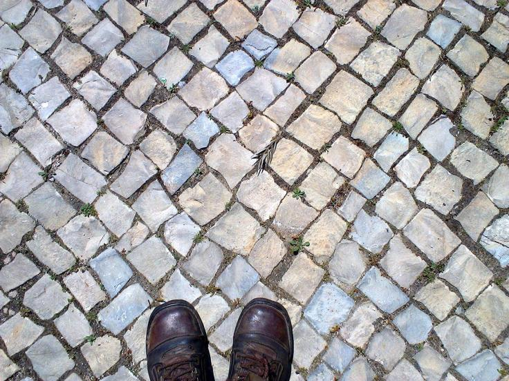 Calçada | Calçado Taken at midday outside the health centre. The  closeness of the words for pavement and footwear in Portuguese struck me, so I documented it.