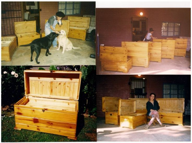 1999: João made all of these pine kists with the assistance of a carpenter with a club foot. We bought seven of them to Portugal with us (excluding the laundry box), and have given one away since.