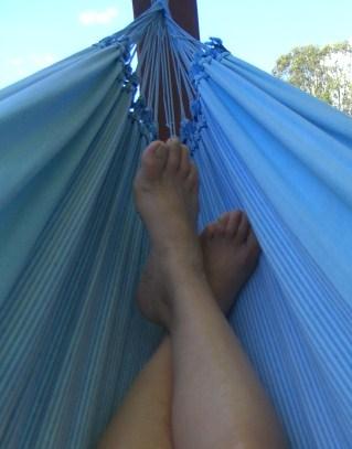 Feet firmly planted in a hammock