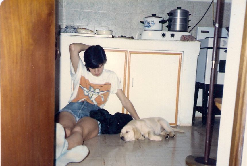 Rubi and Topaz in kitchen 1991 - me on floor