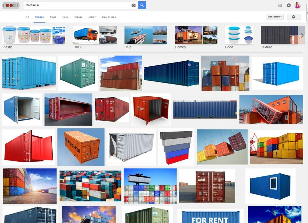 The English 'container' has other words or words used in combination for objects about the size of a crate.