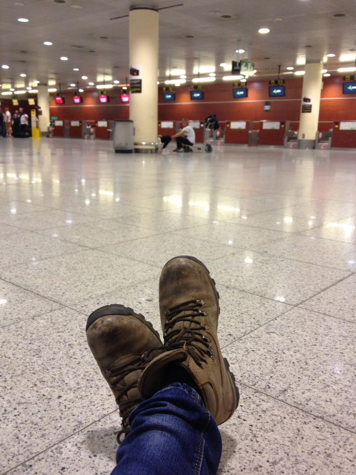 Translating the blog on the floor at Barcelona airport, while leaning against a pillar with plug points, waiting for my iPhone to charge.