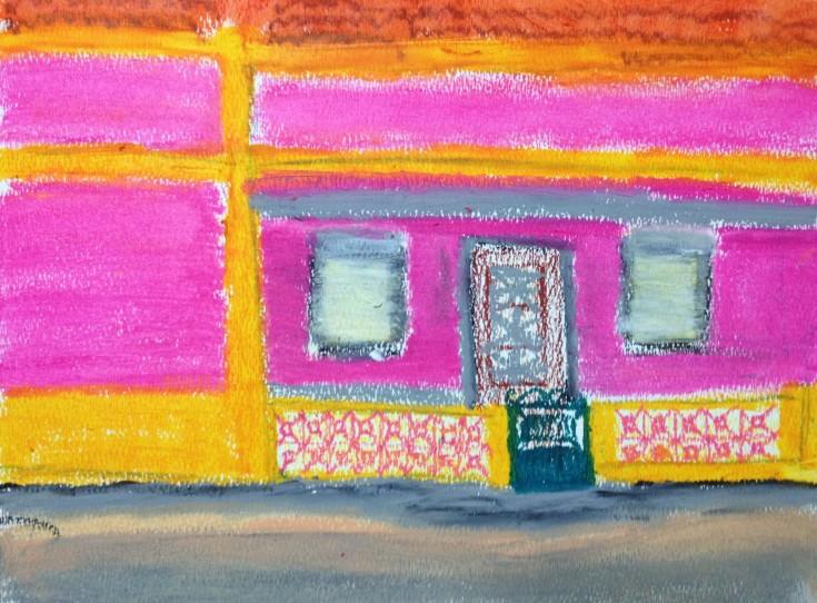 pink and yellow house